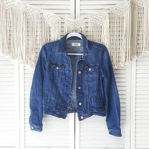MANGO Dark Wash Button Denim Jacket XS